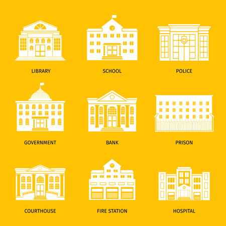 courthouse: Municipal buildings white icons. Government building set, city hall and hospital, governments house and school signs. Vector illustration Illustration