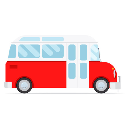 Red vector cartoon bus, isolated on white background Illustration