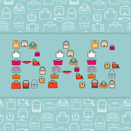 Word Bag with bag icons, vector lettering design concept and patterned background