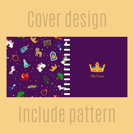 patter: Cover design for print with princess patter. Vector illustration