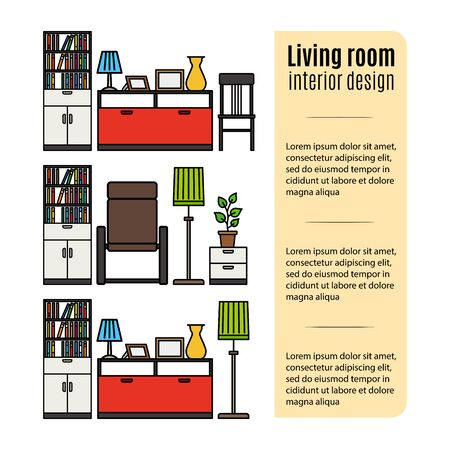 living room furniture: Infographic design with furniture for living room. Vector illustration Illustration
