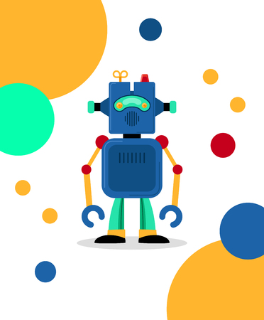artificial leg: Blue vector robot card with colorful dots on white background Illustration