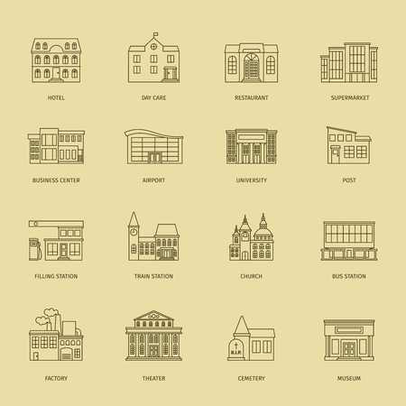 courthouse: Vector building line icons. Outline town houses illustration Stock Photo
