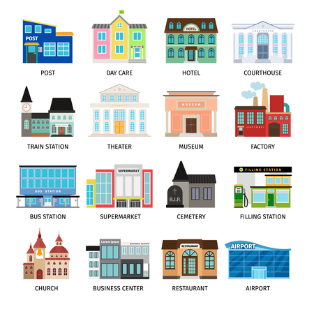 City buildings flat icons on white. Daycare and hotel, courthouse and airport, bus station and the business center. Vector illustration