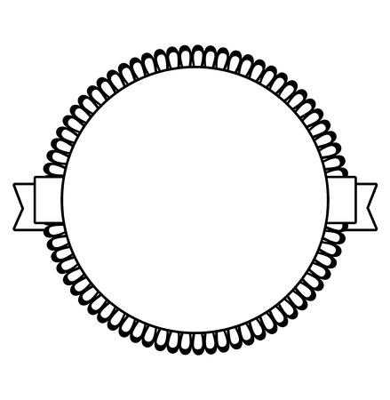 Zwart-wit vector label icoon met lacy element Vector Illustratie