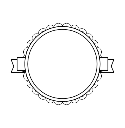 Black circle label with lacy border. Vector illustration