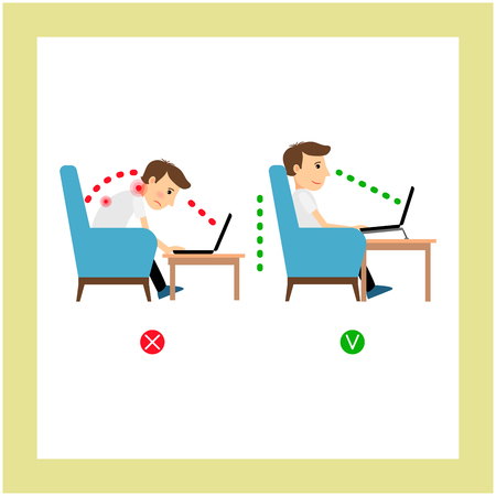 in flexed: Correct posture sitting, laptop use position vector illustration