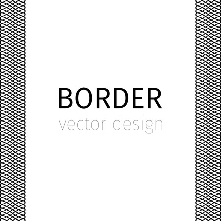 elaborate: Black vector border with guilloches on white background Illustration