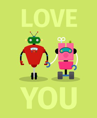 Love you card with robots on light green background, vector illustration
