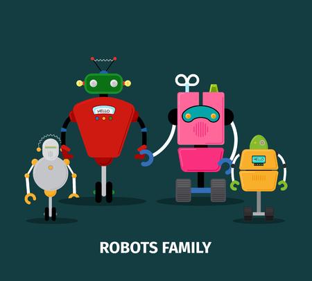 Robots family with kids, vector illustration on dark background Vettoriali