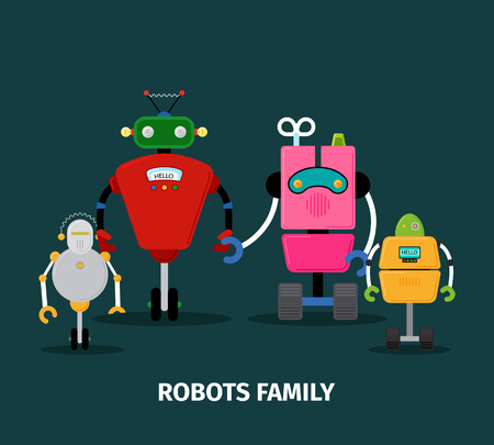 Robots family with kids, vector illustration on dark background Illustration