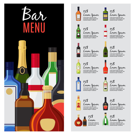 Alcohol Drinks Menu Template For Bar And Restaurant With Bottles ...