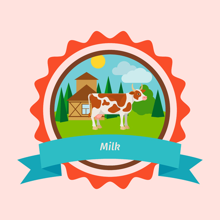 Cow flat icon in circle shape. Vector milk label design with farm landscape