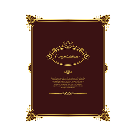 dingbats: Vintage golden template with dark red background. Can be used for invitation design. Vector illustration