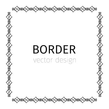 rope folk: Square black scythian vector border on white background