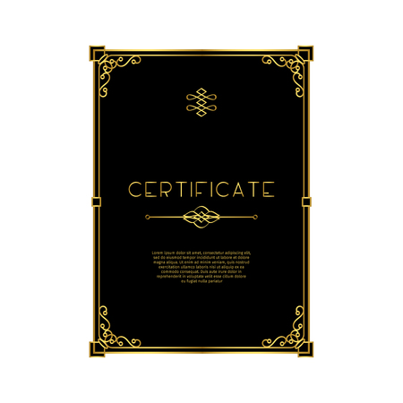 Golden frame certificate templateon black background. Vector illustration