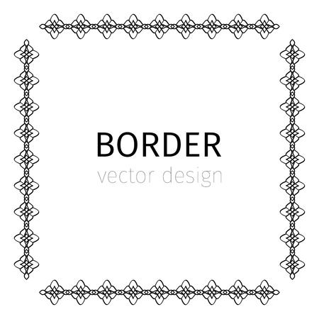simple border: Simple square black vector border on white background