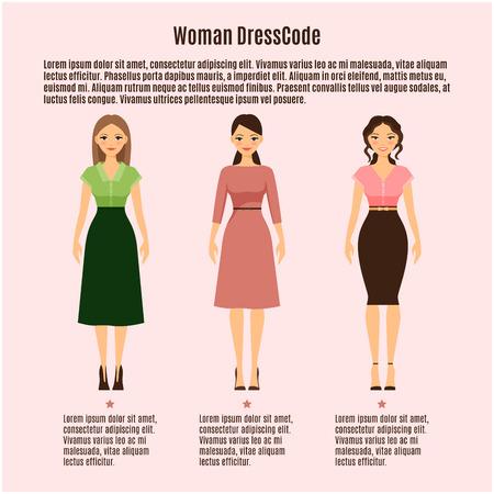 Woman Dress Code vector infographic op roze achtergrond Stock Illustratie