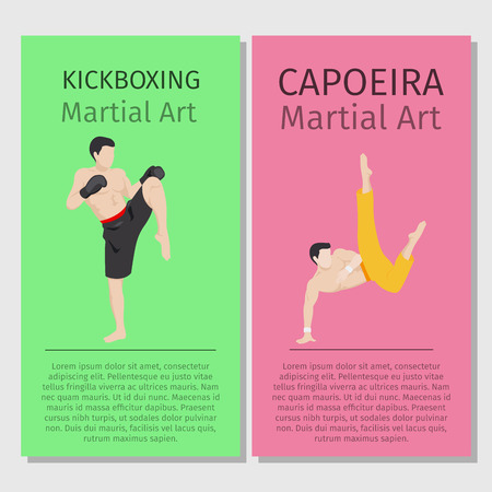 control of body movement: Asian martial arts vector flyers set. Kickboxing and Capoeira Illustration