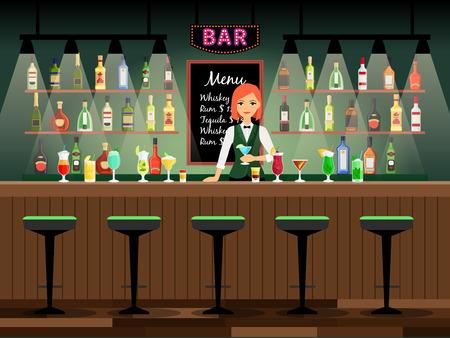 Comptoir de bar avec une dame barman et des bouteilles de vin sur les étagères derrière elle. Illustration vectorielle Banque d'images - 73469855
