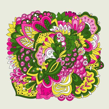 doodled: Colorful set of doodle flowers. Linear doodle flower set on white background. Vector illustration Illustration