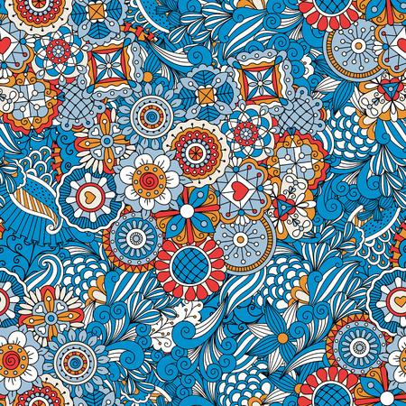 Blue floral decorative pattern with leaves and swirls. Vector illustration