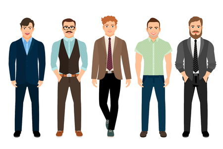 ceo office: Handsome men dressed in business formal male style, vector illustration