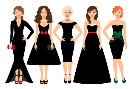 Young woman in different black dresses vector illustration. Black fashion female model portrait isolated on white background Stock Photo