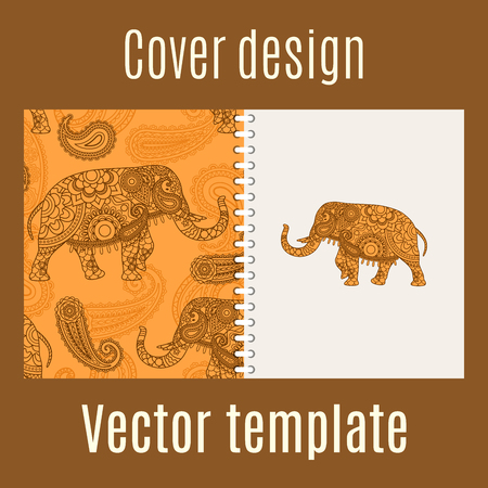 Cover design for print with indian elephant pattern. Vector illustration