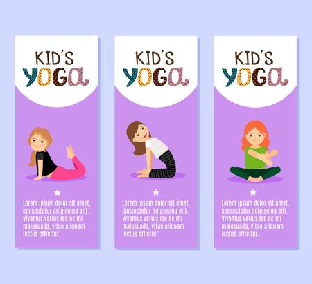 Yoga kids vector violet flyers design with girls Vector Illustration