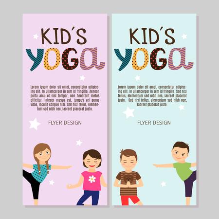 joga: Cute yoga flyers with boys and girls. Vector illustration