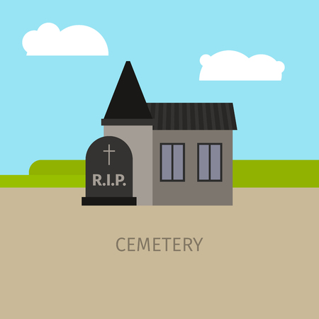 Cemetery colorful building with sign, vector cartoon illustration Illustration