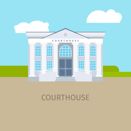 Colored courthouse building with sky and clouds, vector illustration Vektorové ilustrace