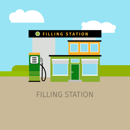 Colored filling station building with sky and clouds, vector illustration