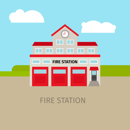 Colored fire station with sky and clouds, vector building 向量圖像