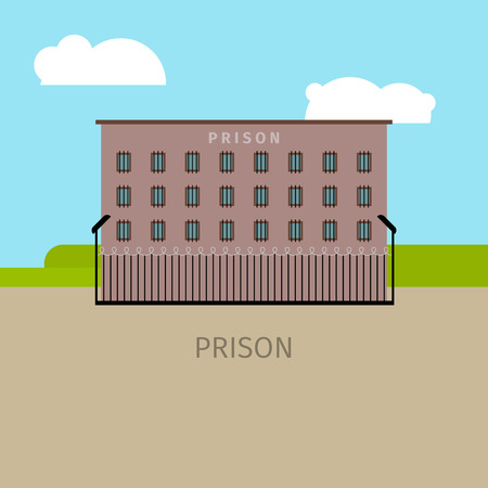 Colored prison building with sky and clouds, vector illustration