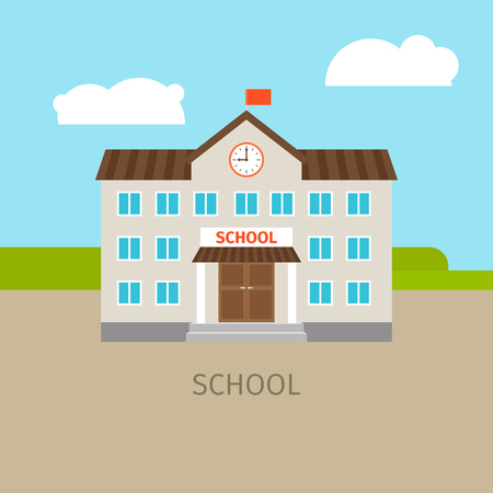 Colored school building with sky and clouds, vector illustration Illustration