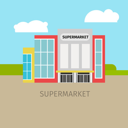 Colored supermarket building with sky and clouds, vector illustration