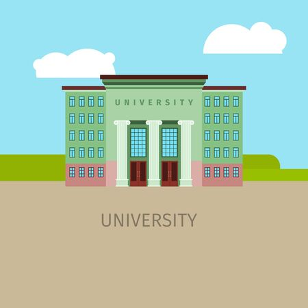 Colored univercity building with sky and clouds, vector illustration
