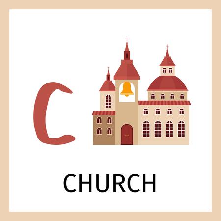 Alphabet card for kids with church building. Letter C card vector illustration Illustration