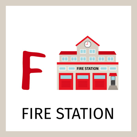Alphabet card for kids with fire station building. Letter F card vector illustration