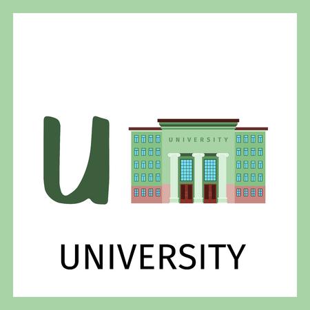 Alphabet card for kids with university building. Letter U card vector illustration