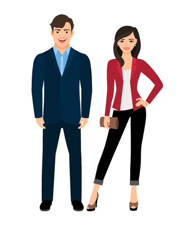 Office style clothed fashion beautiful couple on white background. Vector illustration Ilustracja