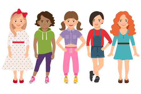 brown haired girl: Stylish child girls vector illustration. Blonde and brunette, brown haired and redhead little girl set isolated on white background