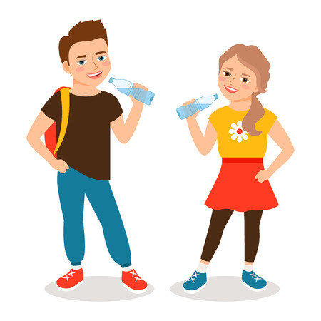 Kids drinking water. Cartoon little boy and small girl drinks clean water isolated on white background. Vector illustration