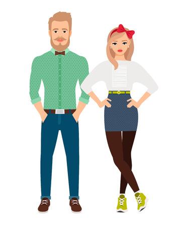 belt up: Retro style dressed fashion couple on white background. Vector illustration
