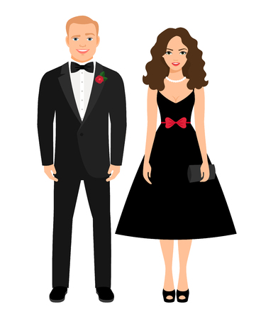 Evening outfit for special occasion. Beautiful couple in black dress and tux. Vector illustration Illustration