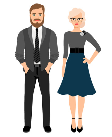 Business style fashion couple on white background. Vector illustration Illustration
