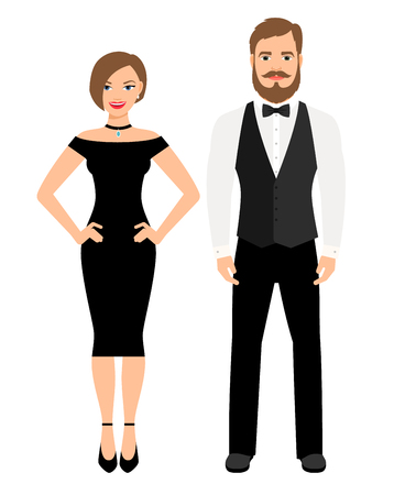 Beautiful couple in official style evening outfit. Lady in black dress and man in vest and bow on white background. Vector illustration