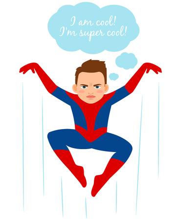 marvel: Superhero spider boy vector illustration. Cartoon urchin kid in spider costume, comics books fan vector illustration